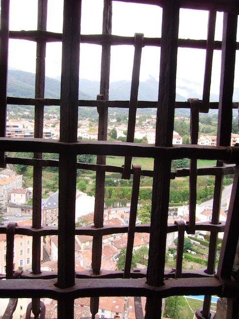Antique window grills to keep prisoners in, Foix chateau, France