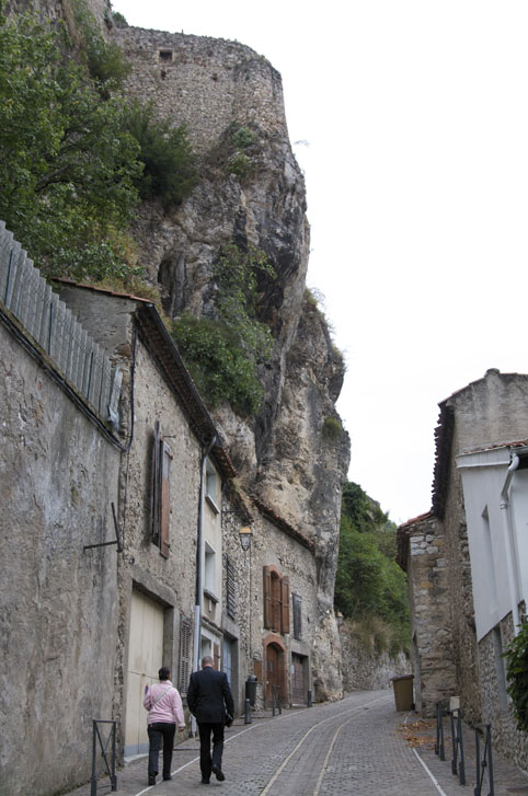 Walking up the rue du Chateau, in Foix, France