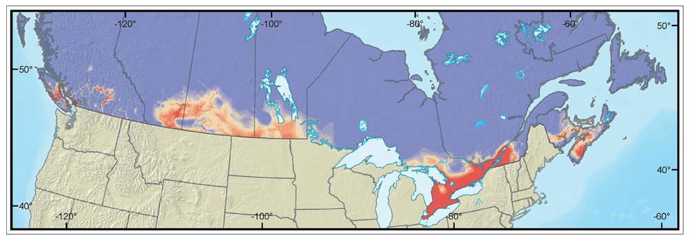 Potential distribution of gypsy moth in Canada, #1. Image © Natural Resources Canada
