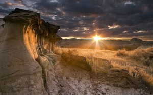 Sunset over the badlands, by jerryw387