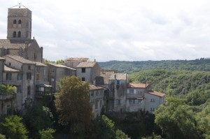 Book-town Montolieu is built on a promontory between the confluence of two rivers