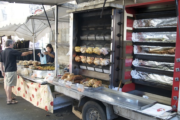 roast-chicken wagon at the market