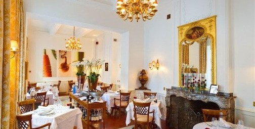 The dining room of le Ciel d'Or restaurant, Mirepoix, France
