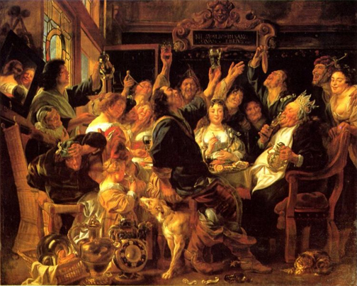 Feast of the bean king, by Jakob Jordaens (1593–1678). Wikimedia Commons