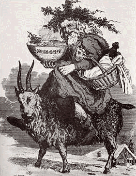 Saint Nicholas taking on new experiences by exchanging reindeer and sled for a goat. Image: WikiCommons (commons.wikimedia.org/wiki/File:Santaandgoat.gif)
