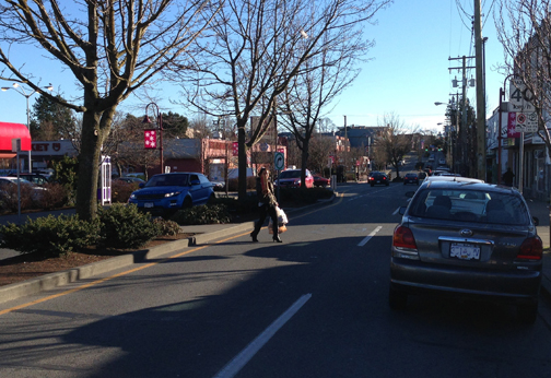 Quadra village street way—designed to slow traffic and encourage community. ©2014.