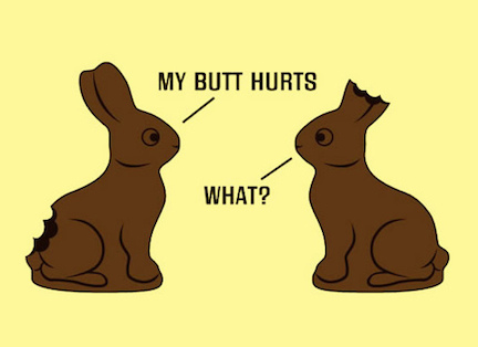 Chocolate bunny butt vs ears. Photo © card karma, cardkarma.com - creative commons
