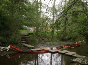 Colquitz Creek home-oil spill containment, May 2014. All rights reserved.