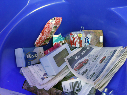 Recycling via blue box programs. Photo © William Mewes, via flickr & creative commons