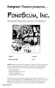 PondScum, Inc., teachers' resources and activity booklet: cover