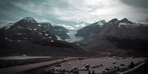 View of the Columbia Icefield from the visitor centre. Photo © Samantha Marx (@smath.com). via creative commons and flickr