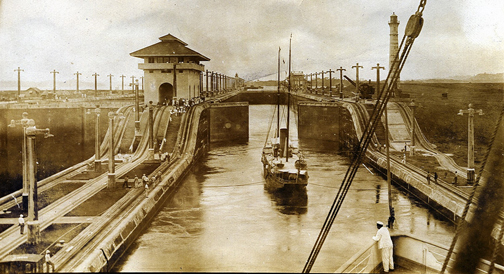 S.S. Panama in Panama Canal's Gatun Locks, ~1915. Photo via Richard (rich701), creative commons