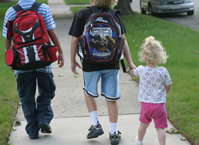 Walking to school. Photo © Elizabeth, via flickr and Creative Commons; Table4five.net