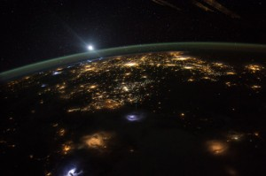 Sunrise over western North America. Photo © NASA